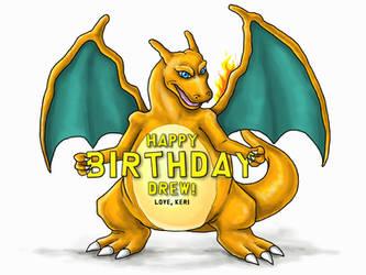 Charizard Birthday Card by Kauri