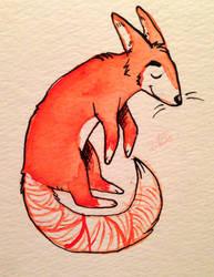Levitating Watercolor Fox by Kauri