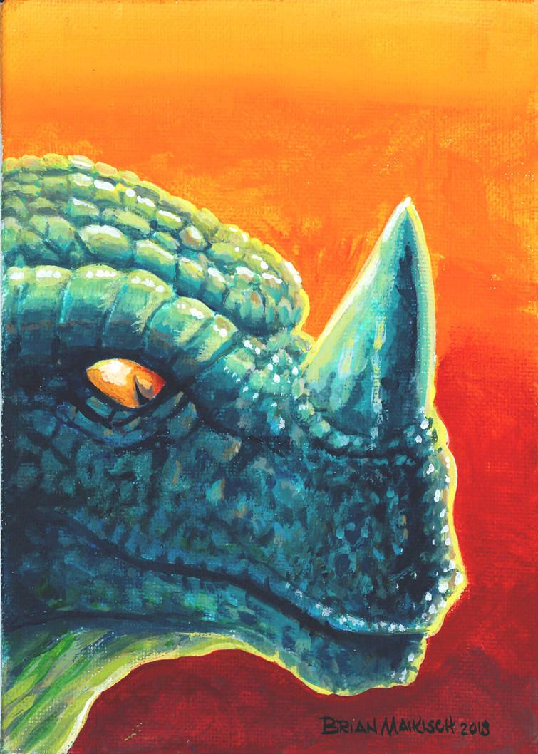 kaiju painting 5X7 by Maikart24