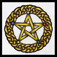 Golden Pentacle by lilmoongodess