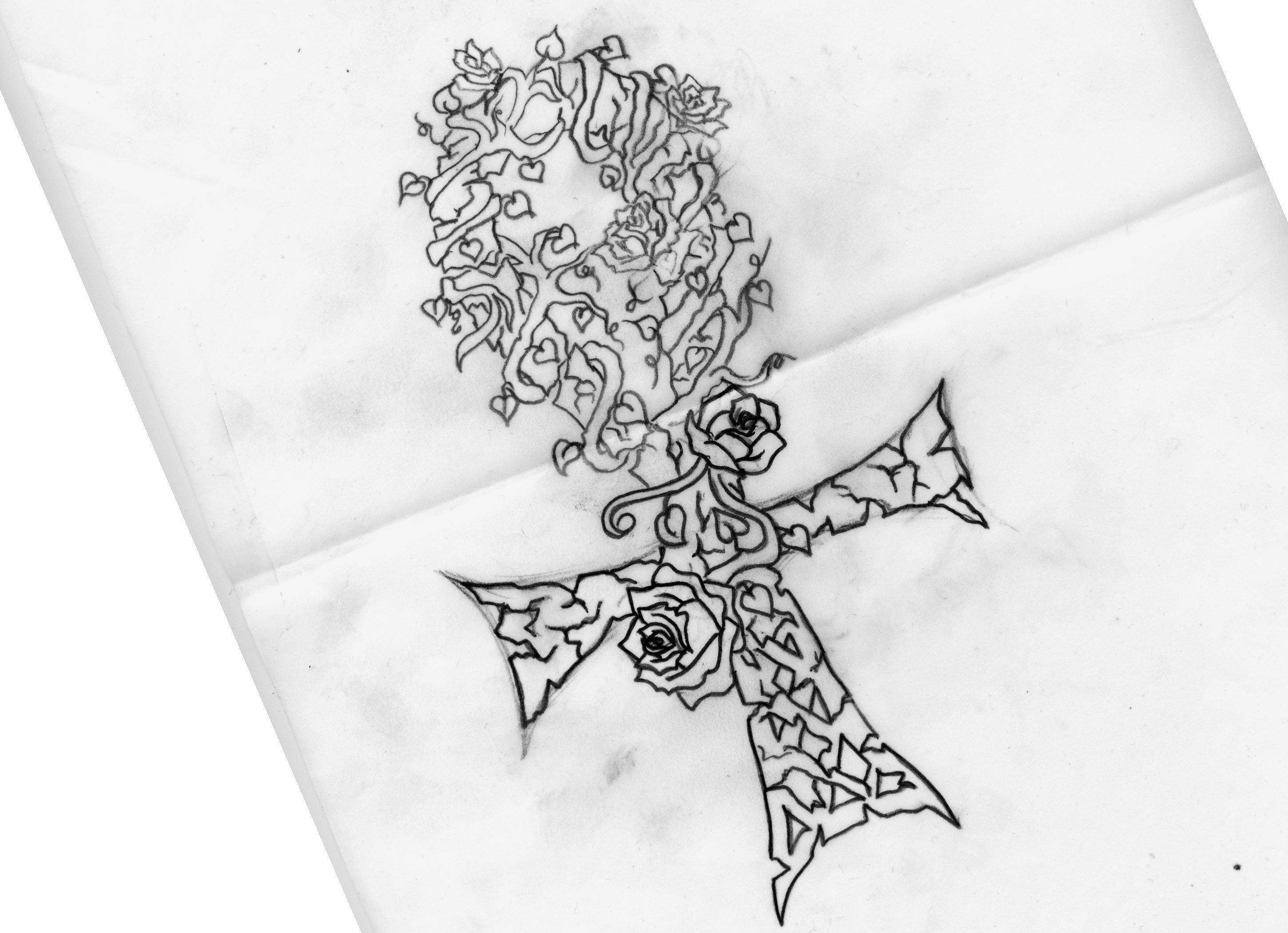 Rose Line Drawing Tattoo : Rose ankh tattoo line drawing by lilmoongodess on deviantart