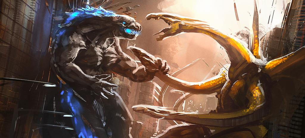 Godzilla and Ghidorah by TDSpiral
