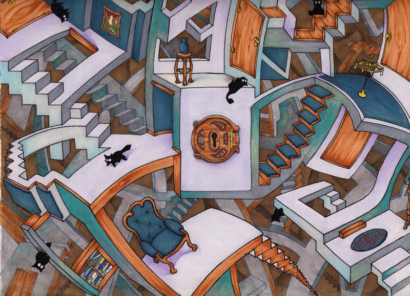 Escher with Cats by Seltivo