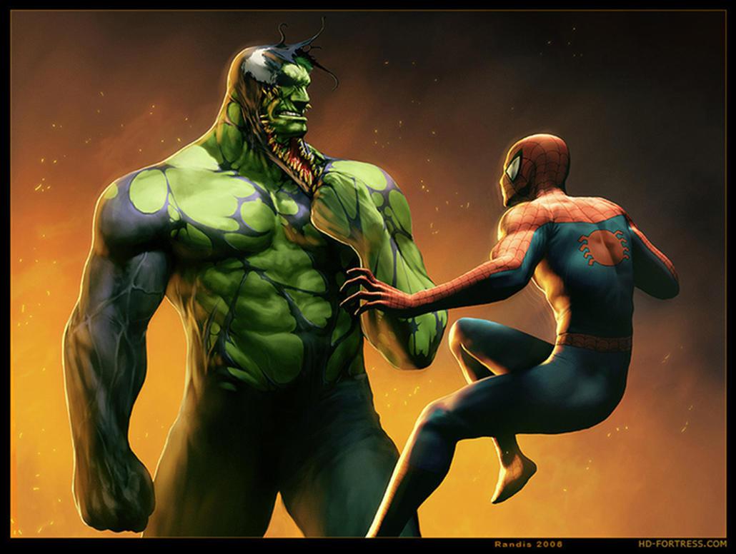 Venom Hulk vs Spiderman by ShawzeeIron Hulk