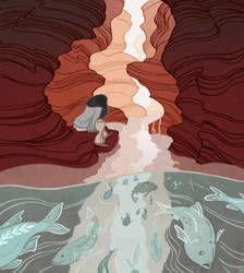 where water runs through rock by anqila