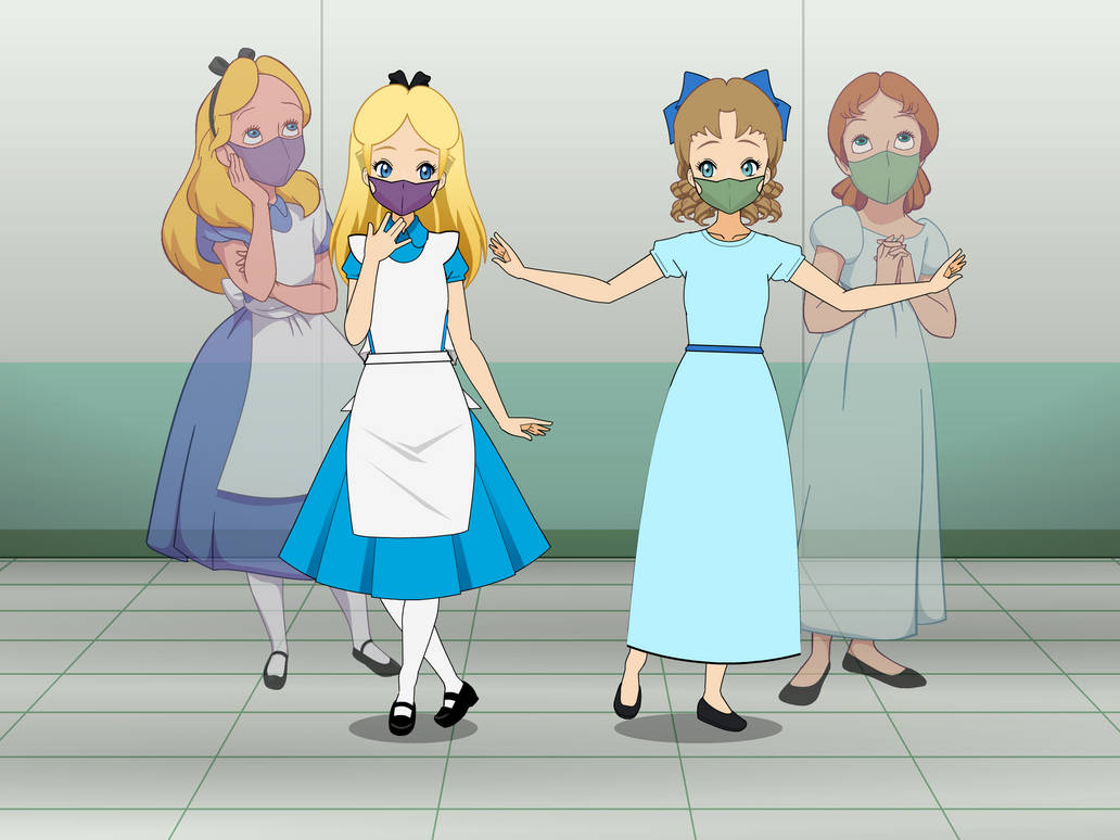 Alice and Wendy with Face Masks
