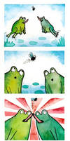 When two frogs quarrel...