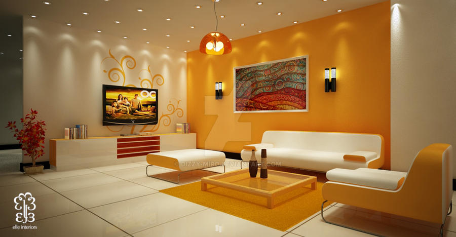 Orange Teen's Living Room by dizzy-miro
