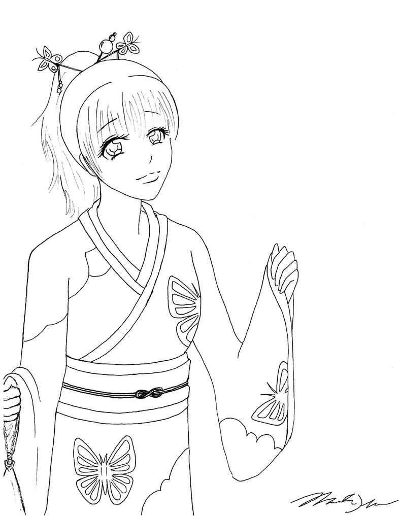 girl in a kimono  outline  by horselover24