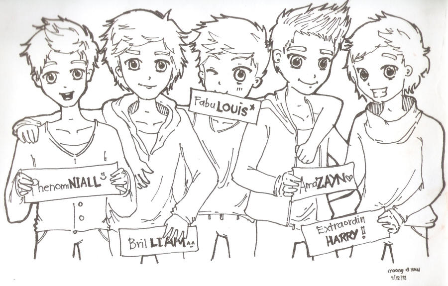 Chibi one direction coloring pages