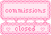 Commissions Closed Button Stamp Banner by ichigocandii