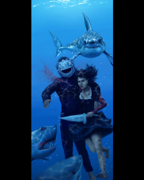 Underwater Shark Drawing