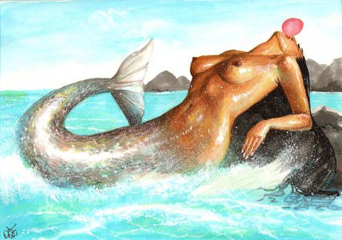 Mermaid blowing gum by Kamazotz