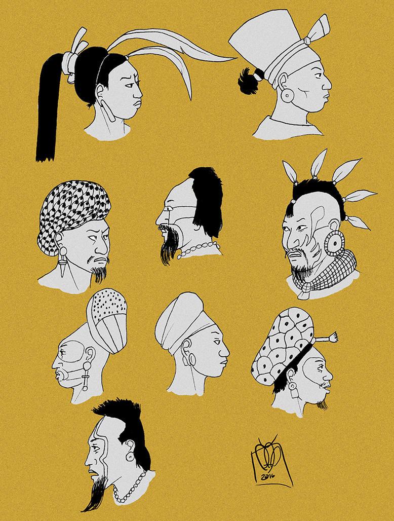 Maya Male hairstyles 2 by Kamazotz