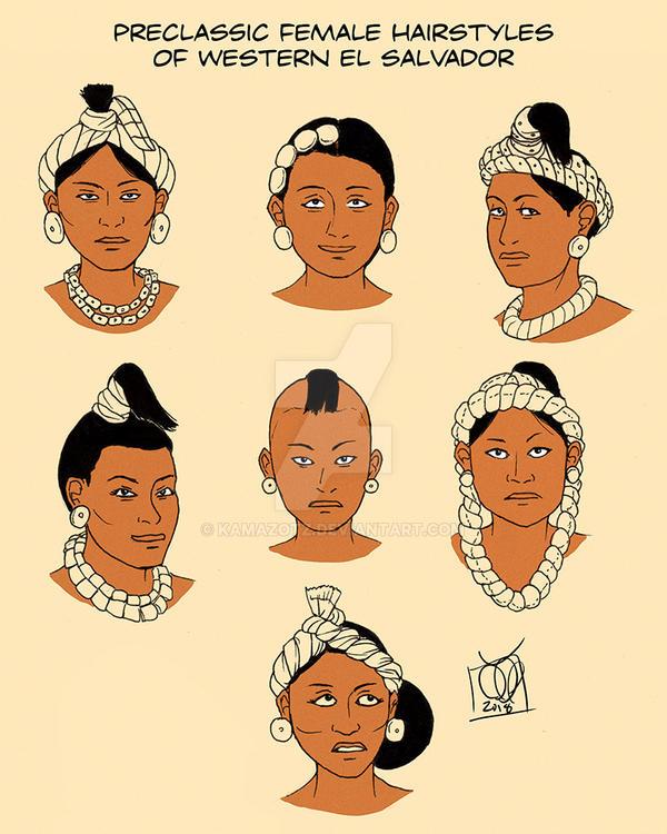 Preclassic Female Hairstyles El Salvador by Kamazotz