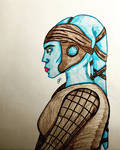Aayla Secura (colored) by GhostFreak-Artz