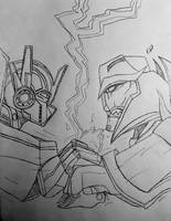 Optimus vs Megatron  by GhostFreak-Artz