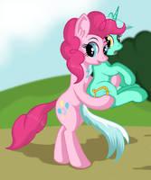 Pinkie Pie with Lyra by negasun