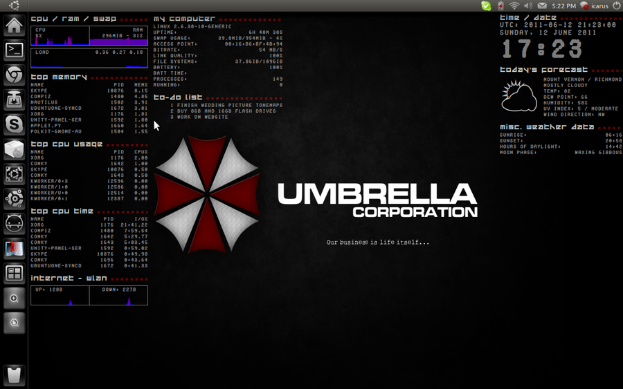 Umbrella Conky by exarobibliologist