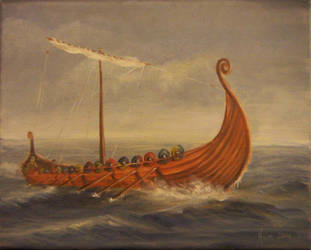Viking Ship: Against the Wind by jezviking