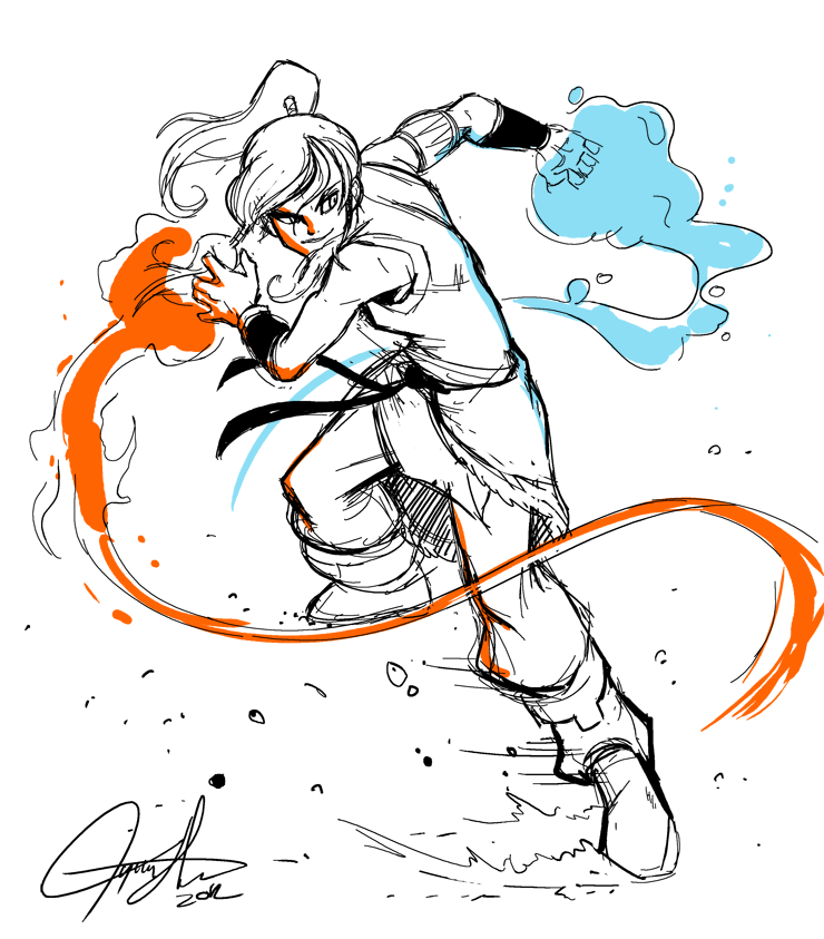 Korra flingin' stuff around by tysonhesse