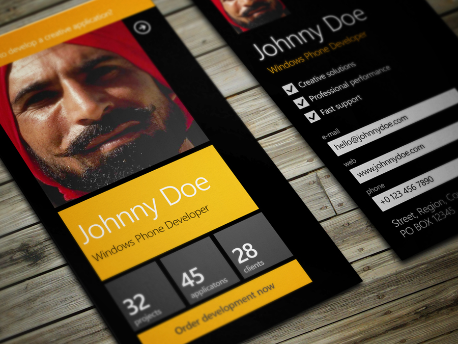 Windows Phone Developer Business Card by iamvinyljunkie on DeviantArt