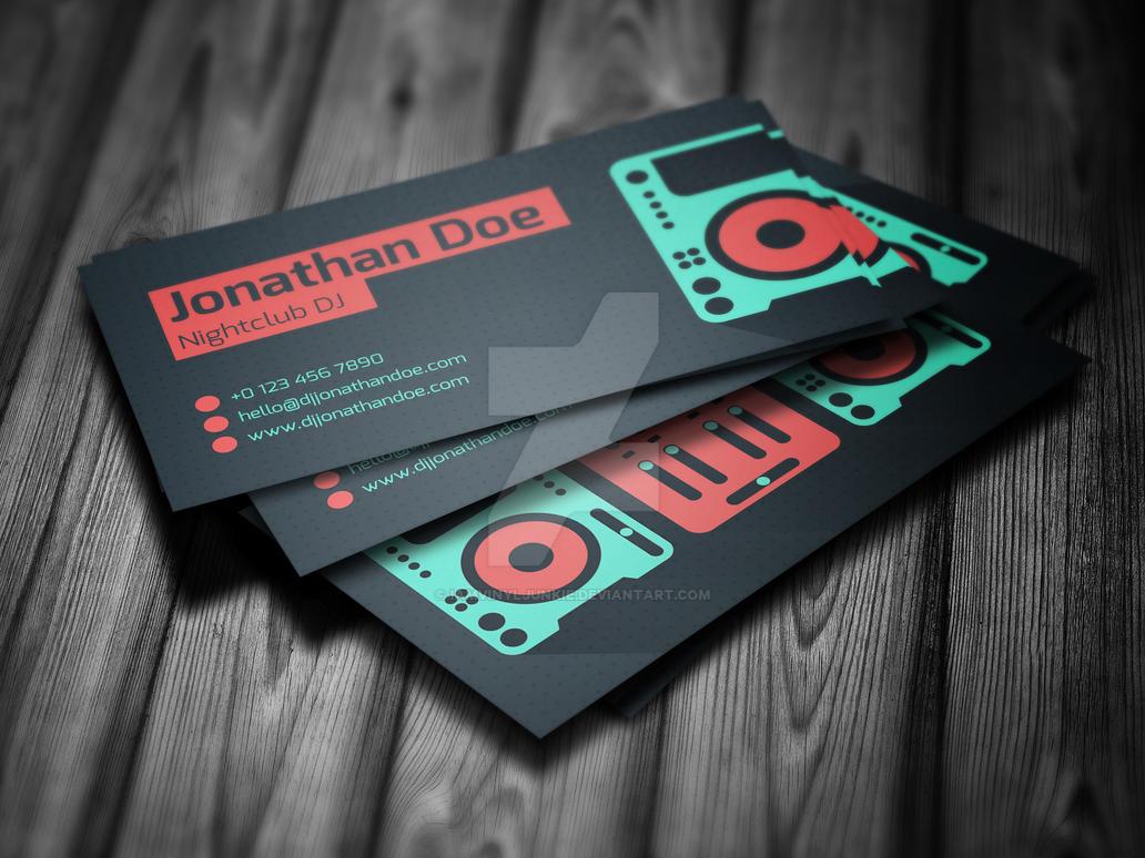 flat dj business card psd template by iamvinyljunkie on