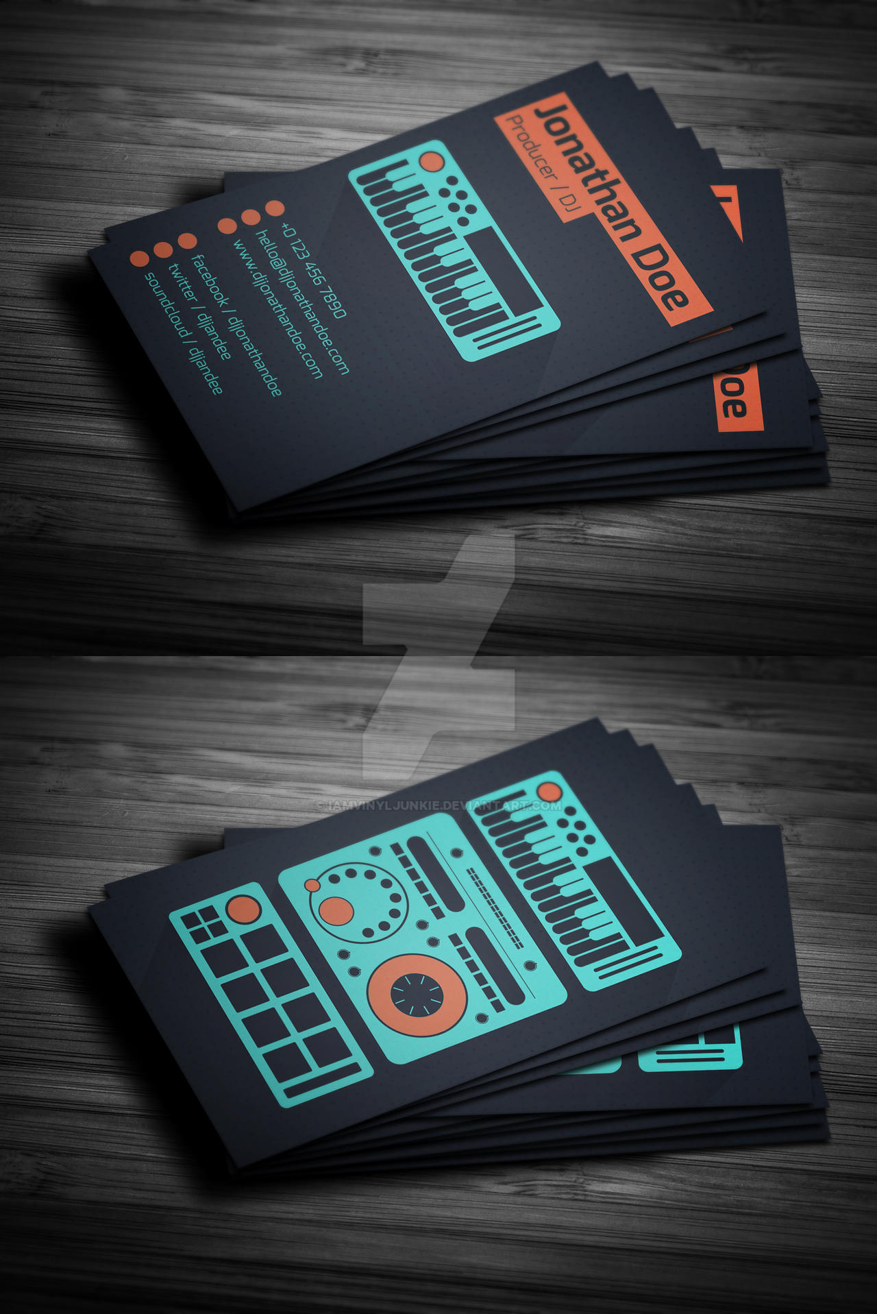 flat producer dj business card psd template by iamvinyljunkie