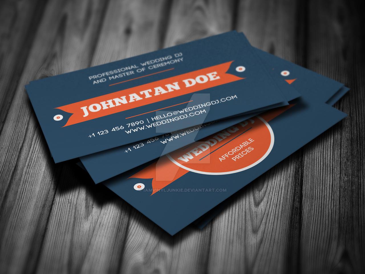 Wedding DJ Business Card Template By Iamvinyljunkie