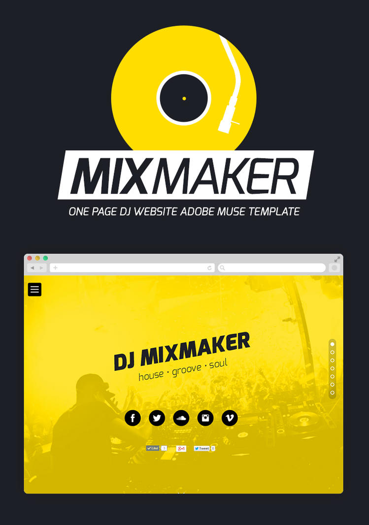 Mixmaker dj website adobe muse template by for Adobe muse mobile templates
