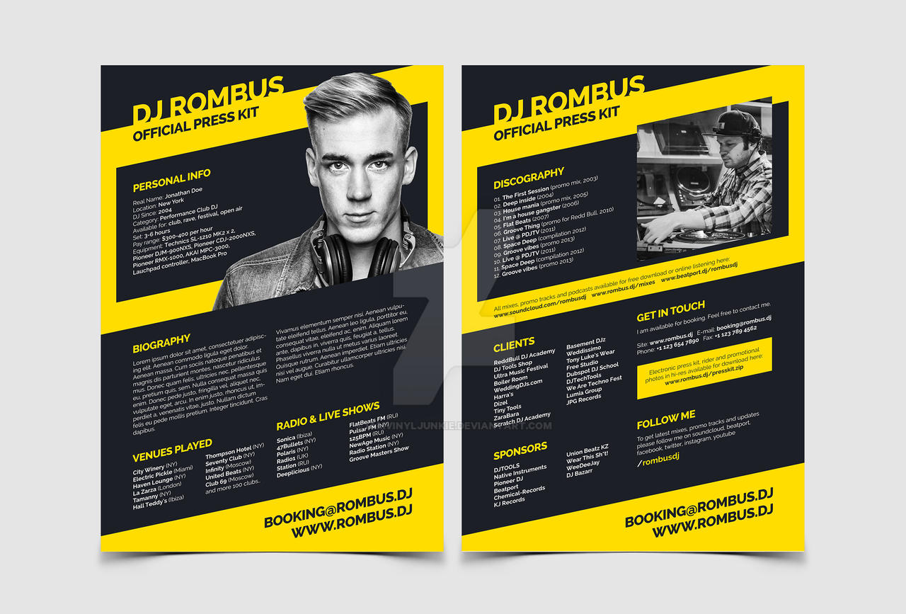 Dj press kit dj resume templates by iamvinyljunkie on for Digital press kit template free