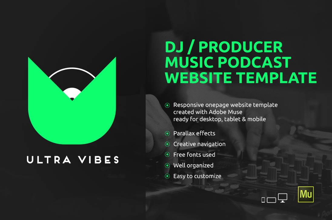 Ultra Vibes - DJ Music Podcast Adobe Muse Template by iamvinyljunkie
