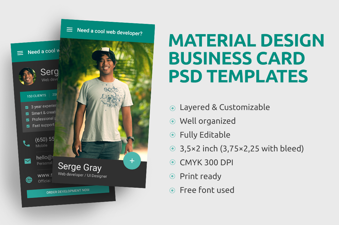Material design business card psd template by for Material design business card