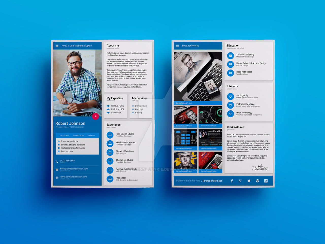 ... Material Design Resume / CV Template By Iamvinyljunkie