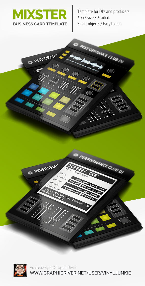 Traktor DJ D2 Digital DJ Business Card Template by iamvinyljunkie