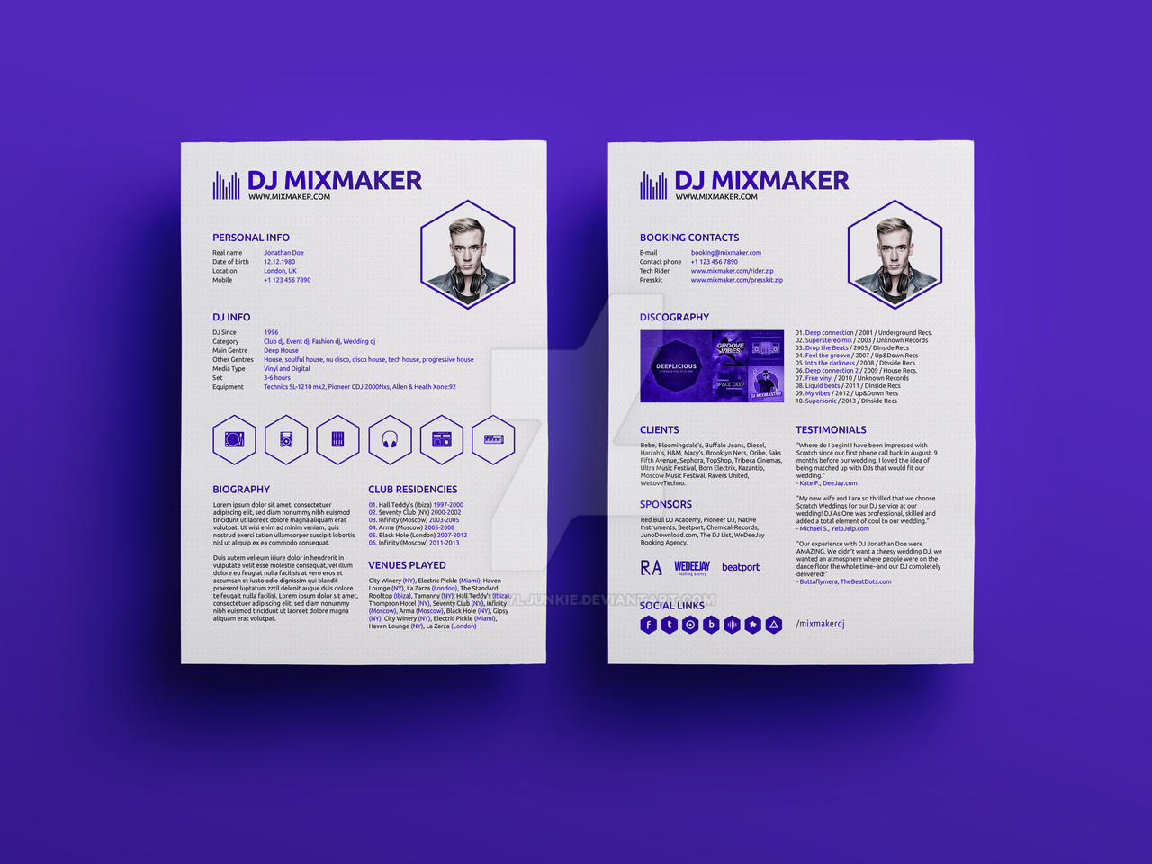 mixmaker dj resume press kit psd template by iamvinyljunkie on