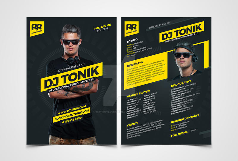 Prodj  Dj Press Kit  Rider  Resume Psd Template By Iamvinyljunkie