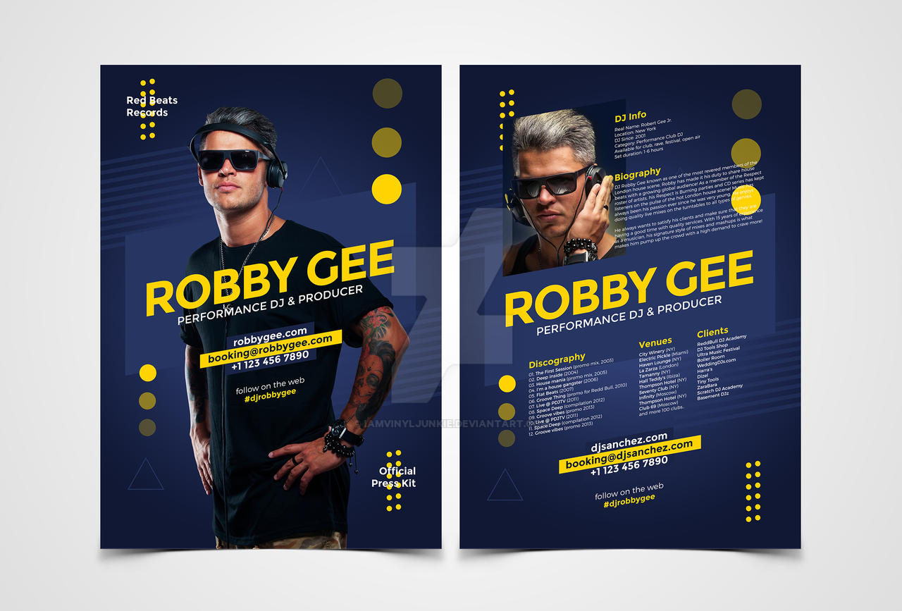 Dj press kit dj resume templates by iamvinyljunkie on for Press pack template