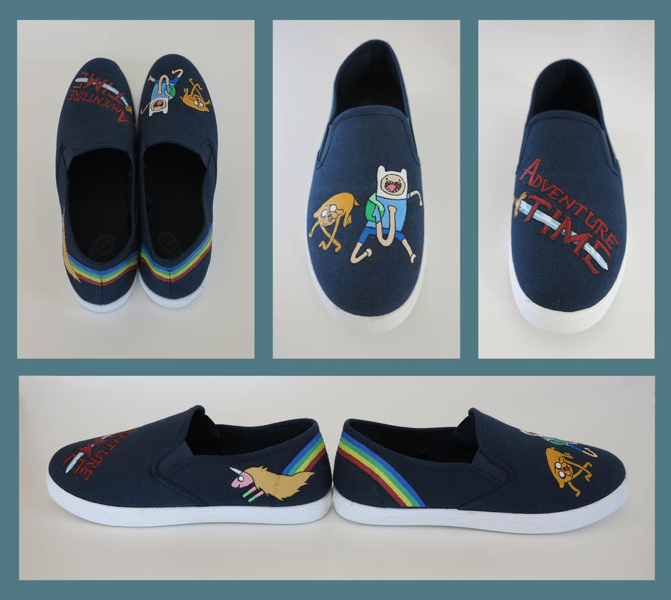 Adventure Time painted sneakers by XaraWhite
