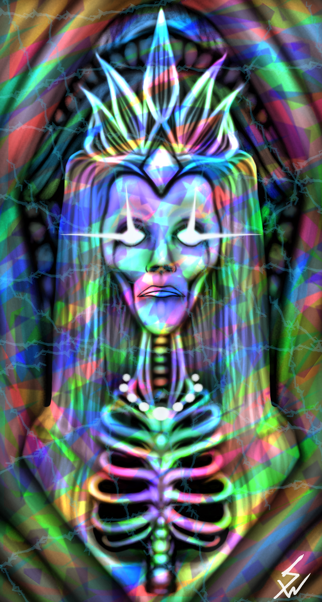 Holographic Skeleton Queen by InsainArt