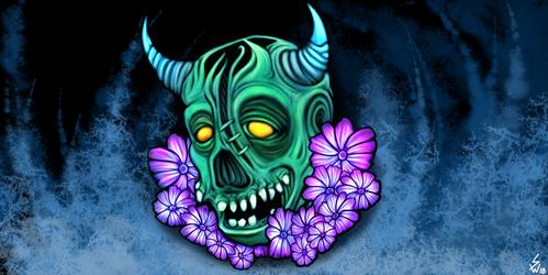 final Skull +Flower by InsainArt
