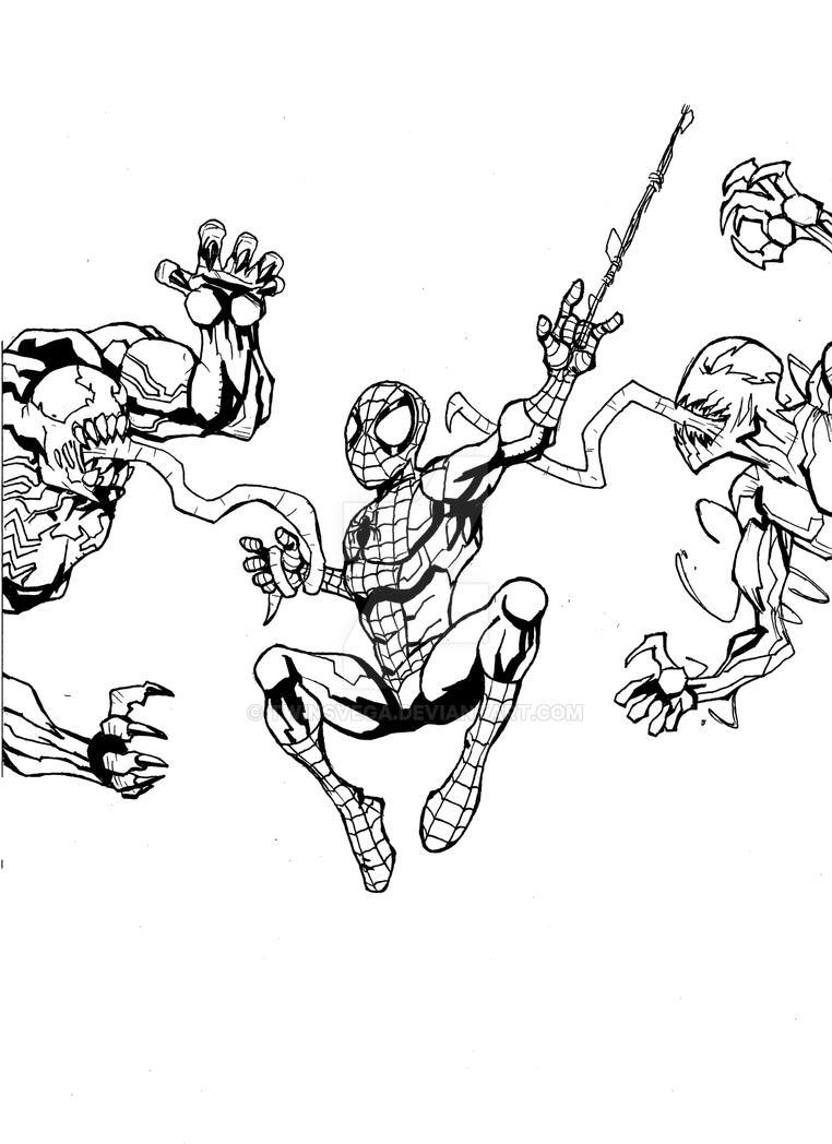Spider man vs venom vs carnage by twinsvega on deviantart for Spiderman vs venom coloring pages