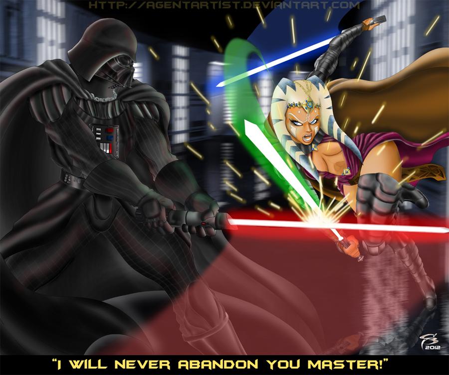 Darth Vader Vs Master Tano by AgentArtist