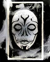 Mort Mask linoleum engraving by peterszebeni