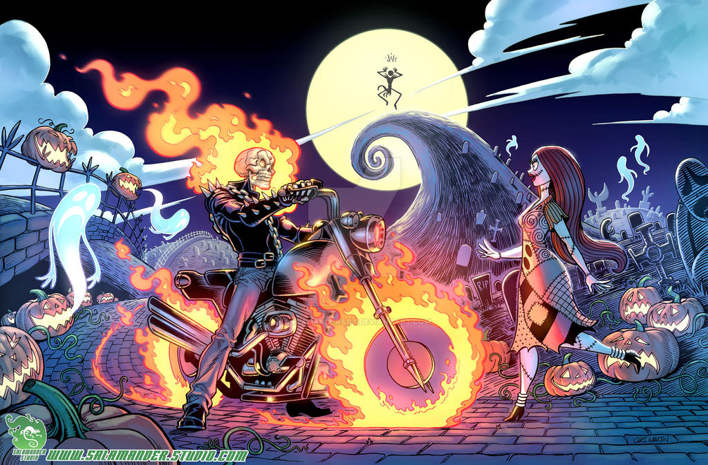 Ghost-Rider-meets-Sally by SalamanderArt