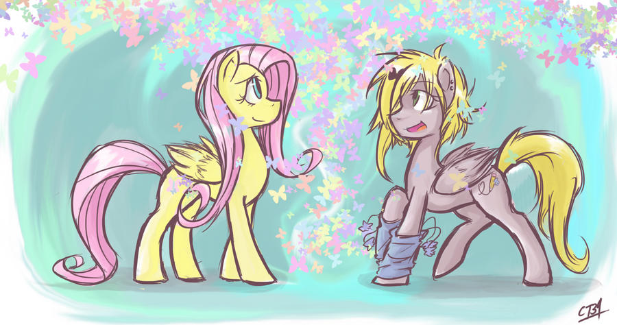 Fluttershy and Cloud Sketch by Coin-Trip39