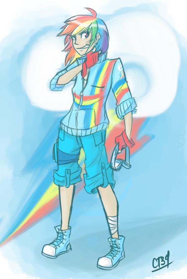 Rainbow Dash Human Boy Human Rainbow Dash by Coin