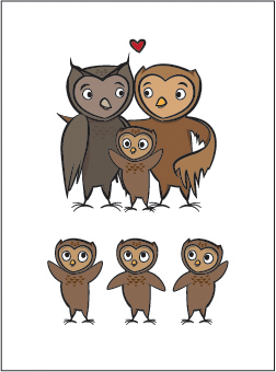 Ollie, Octavio, and all the baby owls :3 by paperstarships