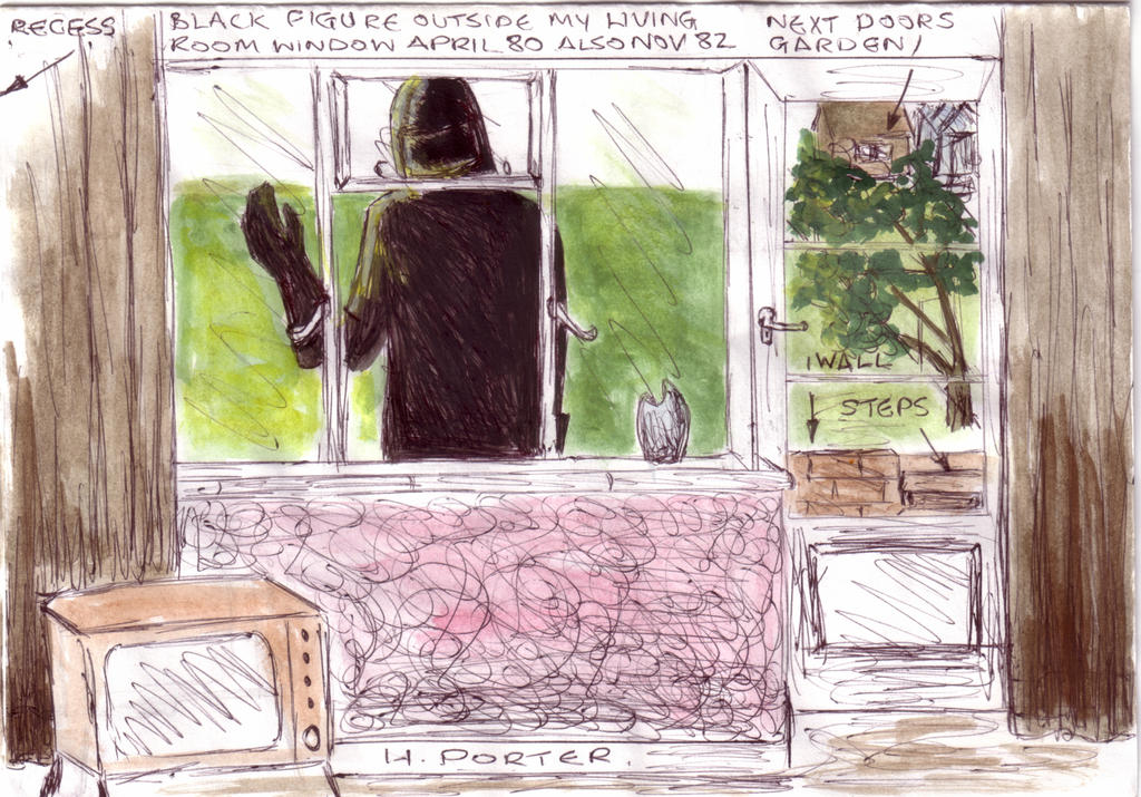 Figure in Black at my Window 1980 and 82 by MyAlienAbductionArt
