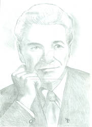 George Adamski UFO Alien Witness Pencil Sketch